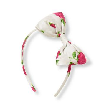 Fuchsia Rose Floral Rose Floral Bow Headband at JanieandJack