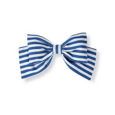 Edwardian Blue Stripe Dobby Stripe Bow Barrette at JanieandJack