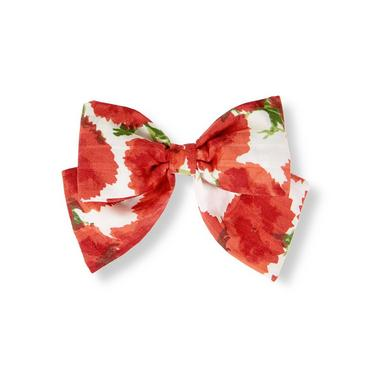 Metropolitan Red Floral Bow Floral Barrette at JanieandJack