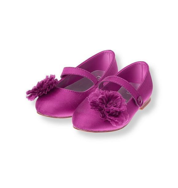 Pleated Rosette Silk Shoe