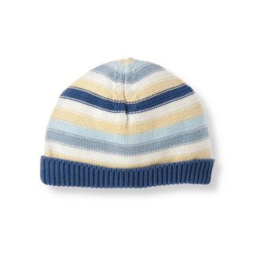Baby Boy Charming Blue Stripe Stripe Sweater Beanie at JanieandJack
