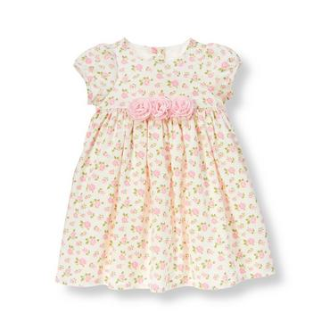 Baby Girl Pink Petal Floral Floral Corduroy Dress at JanieandJack