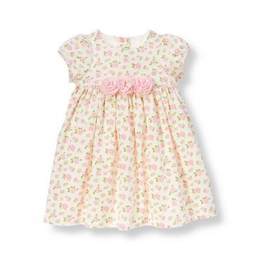 Baby Girl Pink Petal Floral Floral Corduroy Dress at JanieandJack