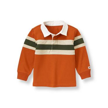 Rust Orange Elbow Patch Rugby Shirt at JanieandJack