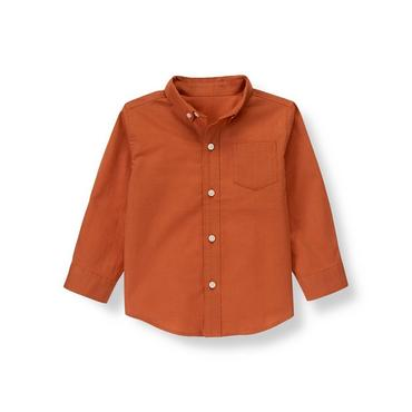 Rust Orange Woven Dress Shirt at JanieandJack
