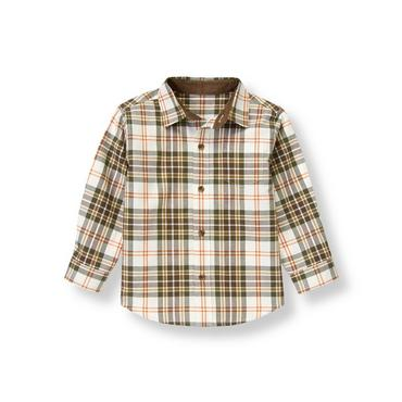 Olive Green Plaid Plaid Twill Shirt at JanieandJack