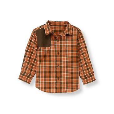 Rust Orange Plaid Plaid Riding Shirt at JanieandJack