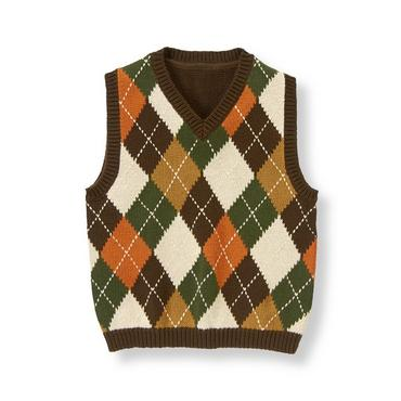 Equestrian Brown Argyle Argyle Sweater Vest at JanieandJack