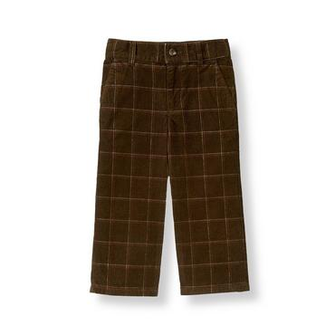 Boys Equestrian Brown Plaid Plaid Corduroy Pant at JanieandJack