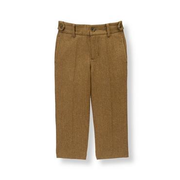 Boys Bridle Brown Herringbone Wool Blend Suit Trouser at JanieandJack