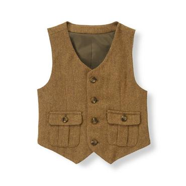 Bridle Brown Herringbone Wool Blend Suit Vest at JanieandJack