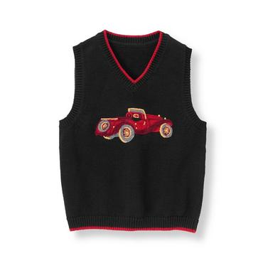 Classic Black Vintage Car Sweater Vest at JanieandJack