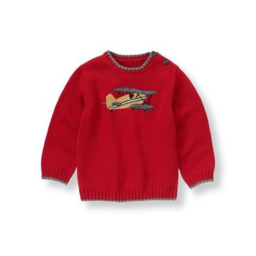 Holiday Red Vintage Plane Sweater at JanieandJack