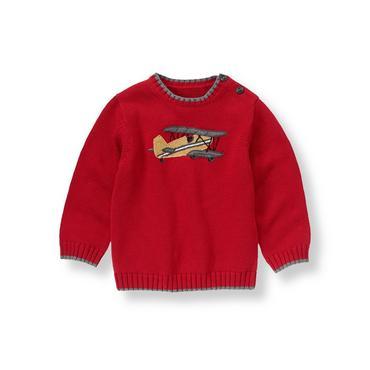 Holiday Red Vintage Plane Sweater at JanieandJack
