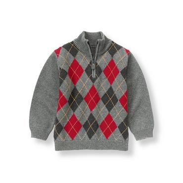 Dark Charcoal Grey Argyle Sweater at JanieandJack