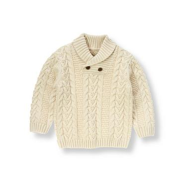 Boys Antique White Cable Sweater at JanieandJack