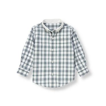 Pine Green Windowpane Tattersall Shirt at JanieandJack