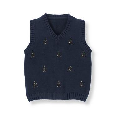 Classic Navy Holiday Tree Sweater Vest at JanieandJack