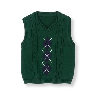 Classic Navy Argyle Cable Sweater Vest at JanieandJack