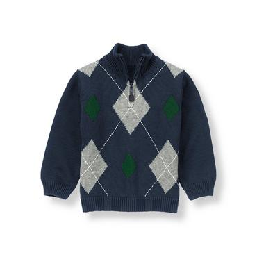 Classic Navy Argyle Sweater at JanieandJack