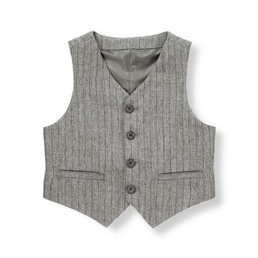 Dark Grey Heather Stripe Pinstripe Vest at JanieandJack