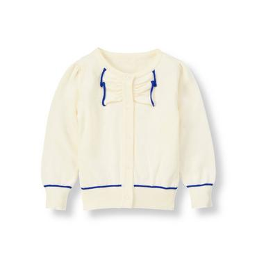 Jet Ivory Tipped Bow Cardigan at JanieandJack