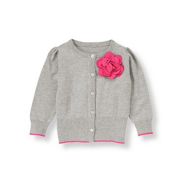 Steel Grey Heather Rosette Pointelle Cardigan at JanieandJack