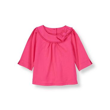 Raspberry Pink Bow Knit Top at JanieandJack
