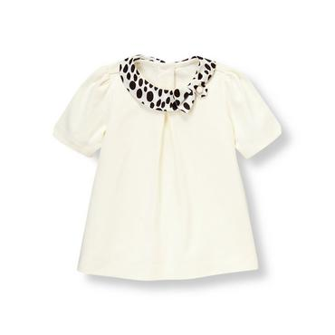 Jet Ivory Dalmatian Dot Collar Top at JanieandJack