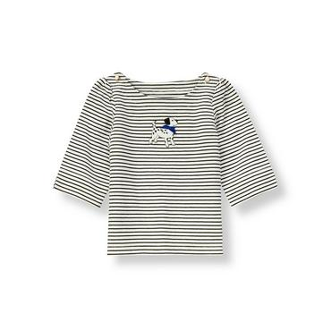 Black/White Stripe Dalmatian Stripe Top at JanieandJack