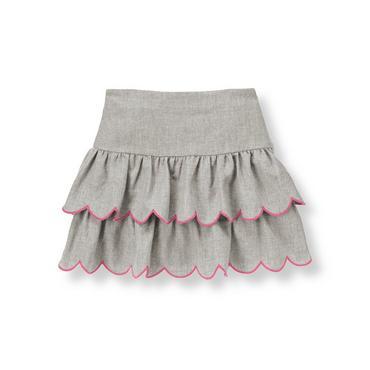 Steel Grey Heather Bow Tiered Skirt at JanieandJack