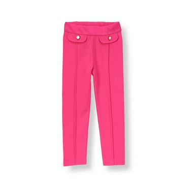 Raspberry Pink Button Ponte Pant at JanieandJack