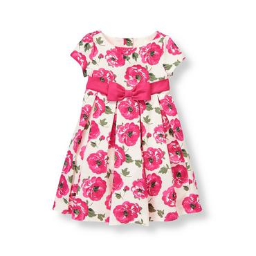 Raspberry Pink Floral Floral Pleated Dress at JanieandJack