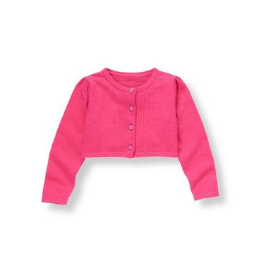 Raspberry Pink Pointelle Crop Cardigan at JanieandJack