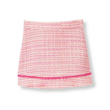 Raspberry Pink Tweed Boucle Skirt at JanieandJack
