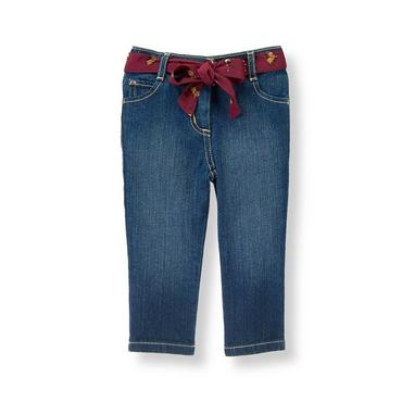 Dark Denim Horse Belted Denim Jean at JanieandJack