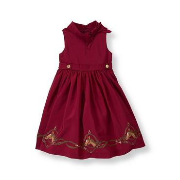 Burgundy Berry Equestrian Horse Dress at JanieandJack