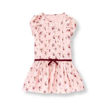 Pink Berry Floral Pleated Floral Button Dress at JanieandJack