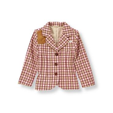 Burgundy Berry Check Plaid Riding Blazer at JanieandJack