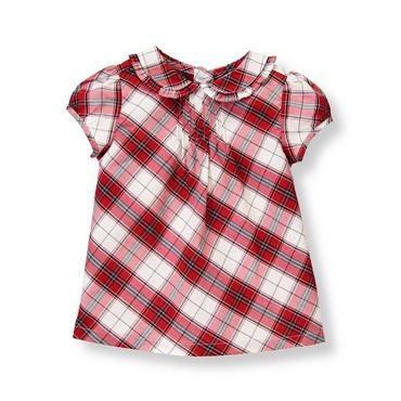 Holiday Red Plaid Plaid Collar Top at JanieandJack