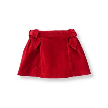 Holiday Red Bow Velveteen Skirt at JanieandJack