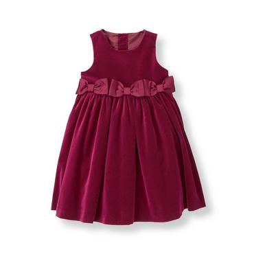Burgundy Bow Velveteen Dress at JanieandJack