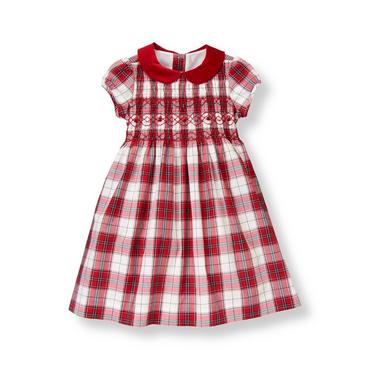 Holiday Red Plaid Hand-Smocked Plaid Dress at JanieandJack