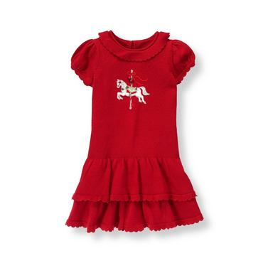 Holiday Red Carousel Horse Sweater Dress at JanieandJack
