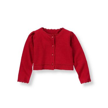 Holiday Red Crochet Crop Cardigan at JanieandJack