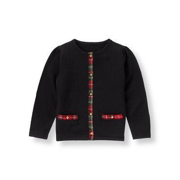 Classic Black Tartan Plaid Trim Sweater Cardigan at JanieandJack
