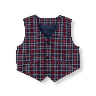 Baby Boy Midnight Navy Plaid Plaid Suit Vest at JanieandJack