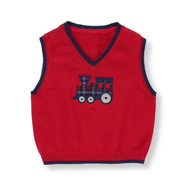 Baby Boy Holiday Red Vintage Train Sweater Vest at JanieandJack