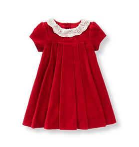 Lace Collar Velveteen Dress