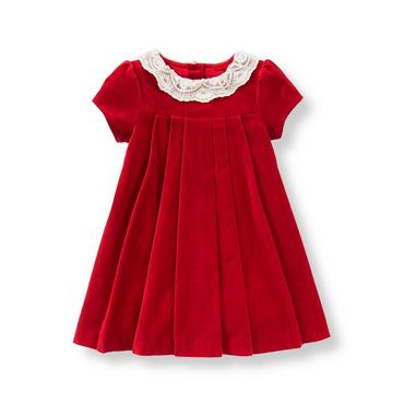 Baby Girl Holiday Red Lace Collar Velveteen Dress at JanieandJack